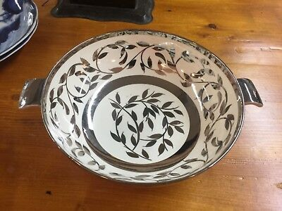 Myott Sons Old Silver Luster serving bowl plate, handles, 1940's, Hand Painted
