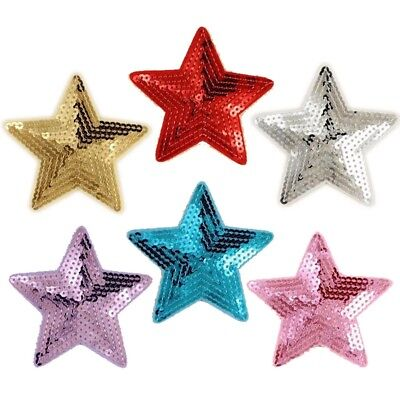 Large Sequin Stars - Embroidered Iron on / Sew on patch / Applique / Badge