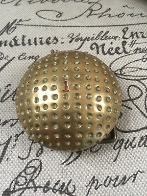 VTG Solid Brass Belt Buckle Hole In 1 Golf Ball Textured Retro Sports Realistic