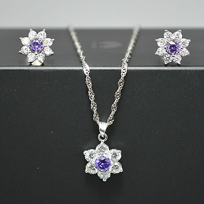 Shiny Solid 925 Sterling Silver Amethyst/Clear CZ Flower Earrings Necklace Set