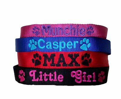 Personalised ID Dog Collars Name & Tel Number Pink Blue Red Black XS S M L XL