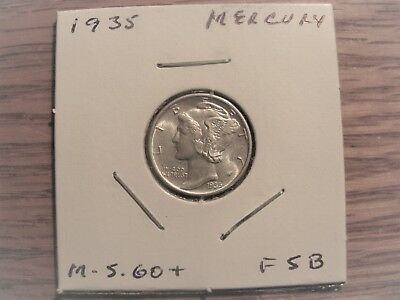 1935 p mercury dime. nice uncirculated. or higher. full split bands