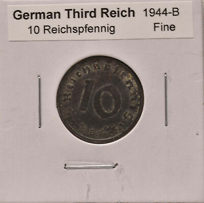10 Reichspfennig from the German Third Reich, dated 1944, in Fine condition