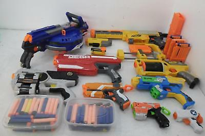 Collection of 9 Nerf Guns/Foam Dart Guns with Accessories and Darts - Job Lot