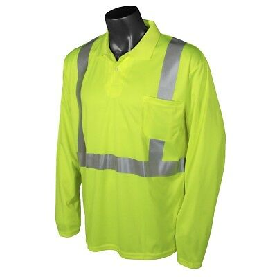 Radians Class 2 Long Sleeve Reflective Safety Polo Shirt, Yellow/Lime
