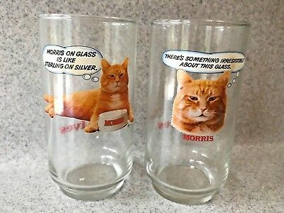 Vintage 1980s Morris The Cat Drinking Glasses * 9 Lives * Set Of 2 Glasses