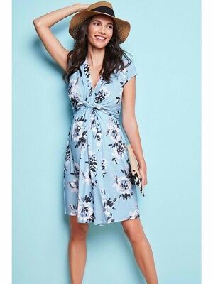 seraphine blue floral maternity dress, size 8.new