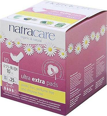 Natracare Ultra Extra Pads with Wings, Super, 10 Count