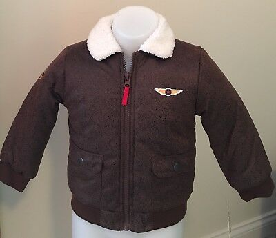 Little Me Outerwear Toddler Boys Brown Aviator Pilot Bomber Jacket Coat Size 24M