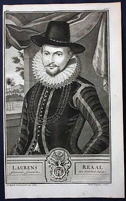 1726 Laurens Reael Governor dutch East indies Portrait engraving Valentijn Asia
