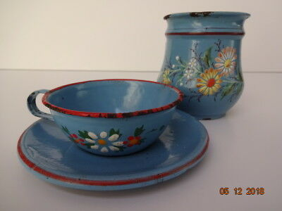 Very RARE Old German Hand Painted Cup and Teacup w/Saucer 3 pcs. Granitware Enam