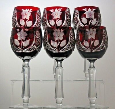 """6 Rare Crystal Cut To Clear Ruby Red Wine Hock Glasses - 7"""" Tall 7 Oz"""