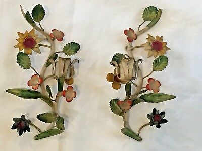 Antique Florentine Italian Tole Wall Sconce Pair Flowers Metal Italy Free Ship