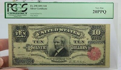 Fr 293 1891 $10 LARGE SIZE SILVER CERTIFICATE TOMBSTONE NOTE VERY FINE 20 PPQ