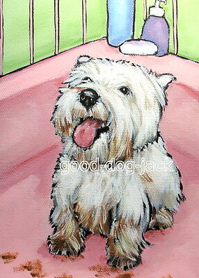 """West Highland Terrier ACEO WESTIE PRINT Painting """"MUDDY PAWS"""" Dog Art RANDALL"""