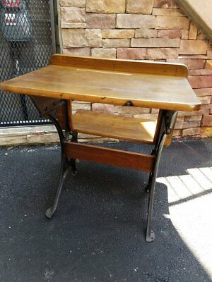 STUDENT DESK WITH attached chair, wooden & iron base