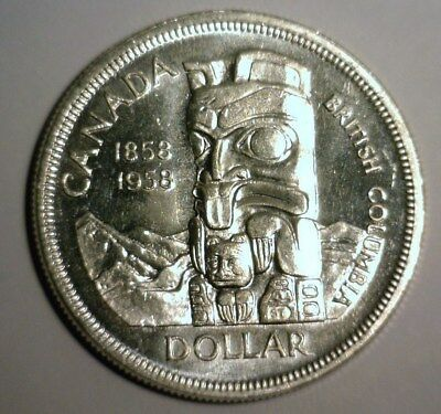 1958 Canada Silver Dollar  About Uncirculated  Nice Looking Coin!!!