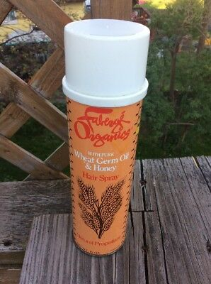 RARE 1970s hair spray can FABERGE ORGANICS wheat germ & honey VINTAGE GROOVY 70s