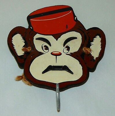 VTG 1952 HAPPY HANG UPS Coat Hook MONKEY Smiles When Coat On Hook!