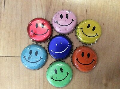 7 Different  Smiley Faces  Beer/ Soda  Bottle Caps  -   Plastic Lined