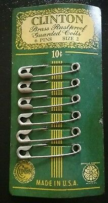 Antique Clinton Brass Rustproof Guarded Coil Safety Pins sz 2 Set of 6