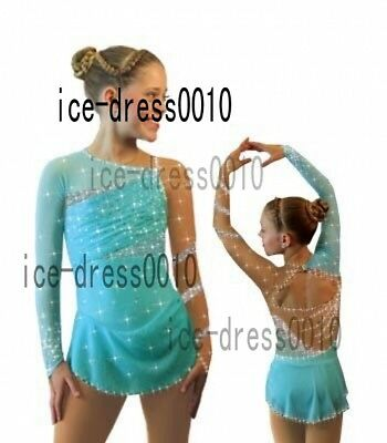 Girl Turquoise Figure Skating competition Dress Ice Skating Dance Dress 8884
