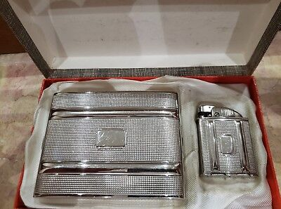 "Rare Working Evans ""clipper"" Pocket Lighter & Cigarette Case Set / Original Box"