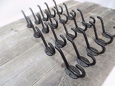 20 Cast Iron Black School Style Coat Hooks Hat Hook Rack Hall Tree Restoration