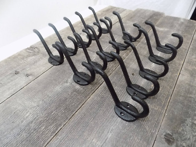 15 Cast Iron Black School Style Coat Hooks Hat Hook Rack Hall Tree Restoration