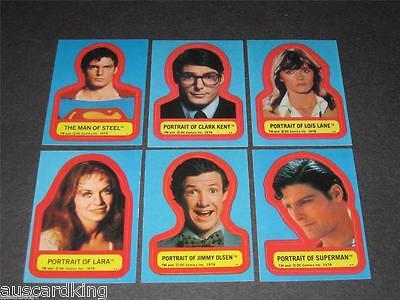 Superman The Movie - Series 1 - Complete Card Sticker Set (6) 1978 Topps - NM