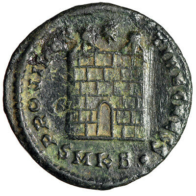 """ARCHITECTURAL TYPE Roman Coin of Constantine II """"Campgate, City Wall Gate"""""""