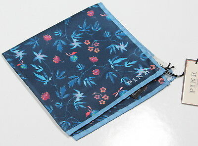 New! * THOMAS PINK * Blue Floral 100% Silk Made in Italy Pocket Square