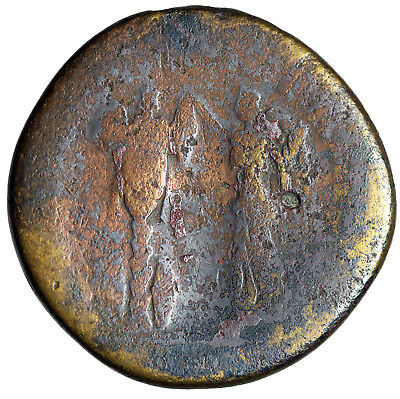 """LARGE Trajan Sestertius Roman Coin """"Victory Erecting Trophy of Arms"""" Certified"""