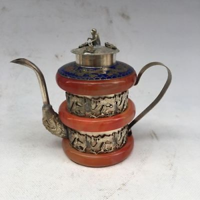 Collectible Decor Old Handwork Jade & Tibet Silver Carved Dragon Phoenix TeaPot