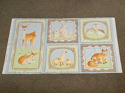 Woodland Animal Cot Panel Baby Boy Fabric Deer Duck Rabbit Bunny Fox Quilting