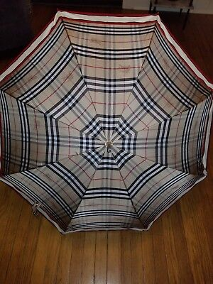 Authentic Burberry Cane Umbrella. Burberry  classic check/red leather handle