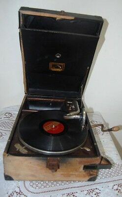 Antique Collectable His Master Voice Portable Wind Up Gramophone ...