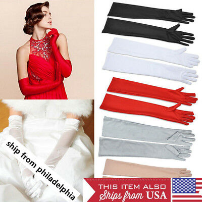 "22""  Women Satin Arm Hand Long Sleeve/Gloves Evening Party Opera Bridal Wedding"