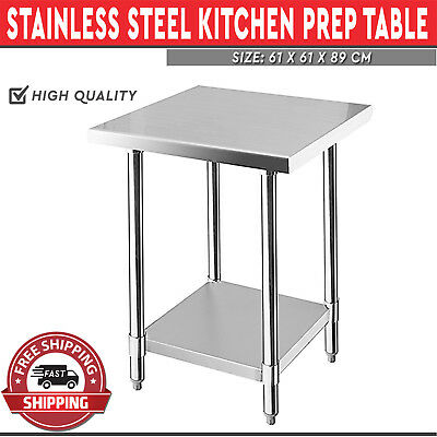 Stainless Steel Kitchen Work Bench Catering Prep Table Adjustable Shelf 610mm