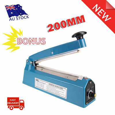 "Portable 8"" Impulse Heat Manual Sealer 200mm Electric Poly Bag Hand Sealing Tool"