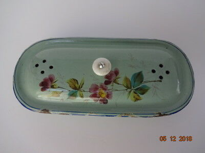 Rare French Soap Dish with Hand Painted Floral Graniteware Enamelware