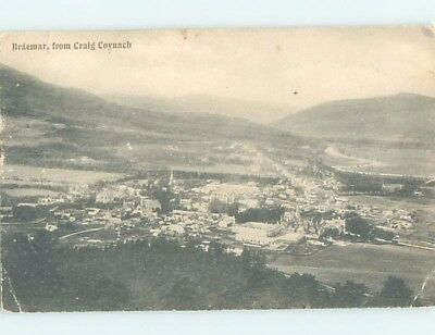 Old Postcard AERIAL VIEW OF TOWN Braemar In Aberdeenshire Scotland UK F5540