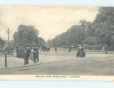 Unused Old Postcard ROTTEN ROW AT HYDE PARK London England UK F5340