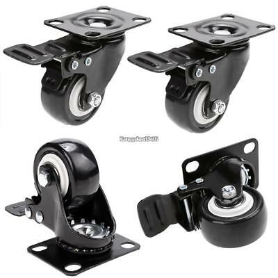 "Swivel Plate Caster Set with 4"" Polyurethane Wheel  Rear Brakes Non Skid Mark"