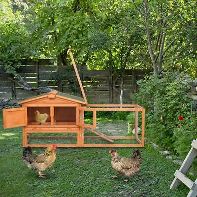 "61"" Wooden Rabbit Hutch Cage Chicken Coop House Hen Pet Animal Backyard Run"
