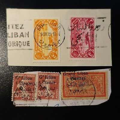 France Colony Grand Lebanon 2 Fragments Of Letter / Overload Shifted On Merson