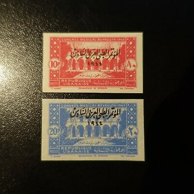 France Colony Grand Lebanon N°187/188 Stamp Not Indented Imperf 1944 Neuf Mnh