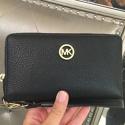 Michael Kors Fulton Jet Set Large Flat Multifunction Phone Case Wallet Black