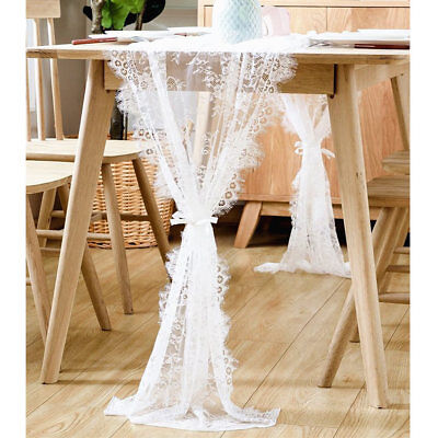 70X300cm White Lace Table Runner with Ribbon Baby & Bridal Shower Party Decor
