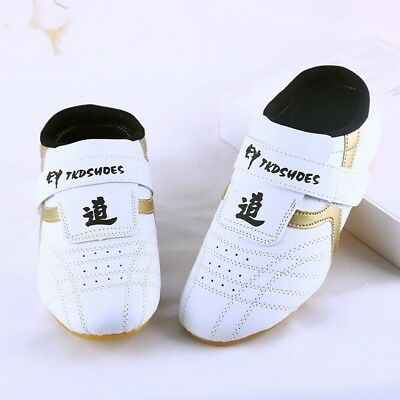 Kids Men PU Taekwondo Shoes Martial Arts Chinese Kung Fu Tai Chi White Soft New